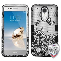 Black Lace Flowers (2D Silver)/Black Hybrid Phone Protector Cover [Military-Grade Certified]