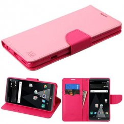 LG V20 Pink Pattern/Hot Pink Liner Wallet with Card Slot