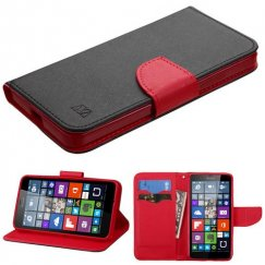 Nokia Lumia 640 Black Pattern/Red Liner Wallet with Card Slot