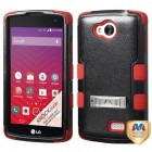 LG Tribute Natural Black/Red Hybrid Phone Protector Cover (with Stand)