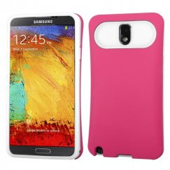 Samsung Galaxy Note 3 Rubberized Hot Pink/White Card Wallet Back Case