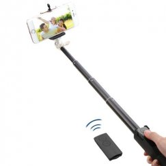 Black Selfie Stick (with Black Mobile Monopod)(for iOS & Android)