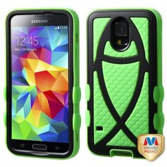 Samsung Galaxy S5 Rubberized Black/Electric Green Fish Hybrid Case