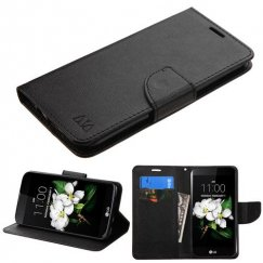 LG K7 Black Pattern/Black Liner wallet with Card Slot