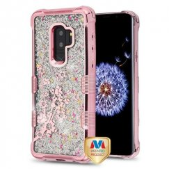 Samsung Galaxy S9 Plus Rose Gold Electroplating/Spring Flowers/Silver Flowing Sparkles Quicksand Glitter Lite Hybrid Case