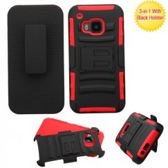 HTC One M9 Black/Red Advanced Armor Stand Case with Black Holster