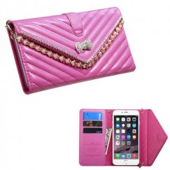 Apple iPhone 6/6s Plus Hot Pink Premium Quilted Wallet with Bracelet
