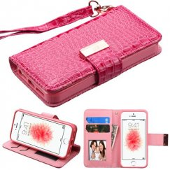 Apple iPhone SE Hot Pink Crocodile-Embossed Wallet