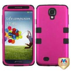 Samsung Galaxy S4 Titanium Solid Hot Pink/Black Hybrid Case