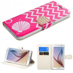 Samsung Galaxy S6 Shell/Pink Wallet with Diamante Belt
