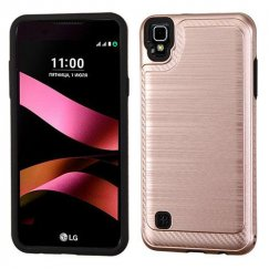 LG X Style / Tribute HD Rose Gold/Black Brushed Hybrid Case with Carbon Fiber Accent