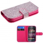 Samsung Galaxy Ring Pink Diamonds Book-Style Wallet with Card Slot