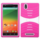 ZTE ZMax White/Hot Pink Wave Symbiosis Case with Horizontal Stand