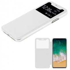 Apple iPhone X White Silk Texture Wallet with Transparent Frosted Tray