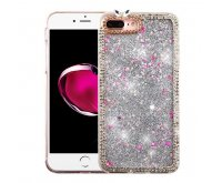 Apple iPhone 7 Plus Silver Quicksand (Stars) Glitter Hybrid Protector Cover (with Diamonds)