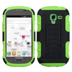 Samsung Galaxy Exhibit Black/Electric Green Car Armor Stand Case - Rubberized