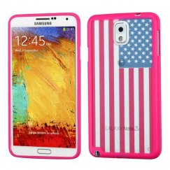 Samsung Galaxy Note 3 Glassy United States National Flag/Hot Pink Gummy Cover