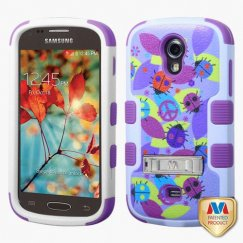 Samsung Galaxy Light Peace Ladybugs/Electric Purple Hybrid Case with Stand