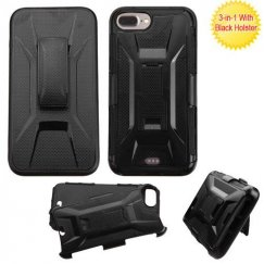 Apple iPhone 7 Plus Black/Black Advanced Armor Stand Case with Black Holster