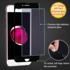 Apple iPhone 7 Plus 3D Curved Soft Edge Carbon Fiber Tempered Glass Screen Protector - Black