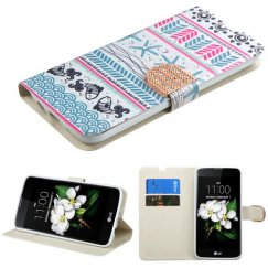 LG K7 Jumping Fishes Diamante Wallet with Diamante Belt