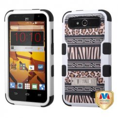 ZTE Speed Zebra Skin-Leopard Skin/Black Hybrid Case with Stand