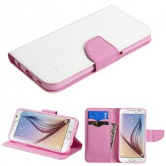 Samsung Galaxy S6 White Pattern/Pink Liner wallet with Card Slot