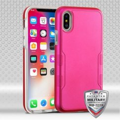 Apple iPhone X Titanium Solid Hot Pink/Transparent Clear Contempo Hybrid Case Military Grade