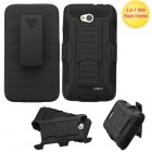 LG Optimus L70 Black/Black Advanced Armor Stand Protector Cover (With Black Holster)