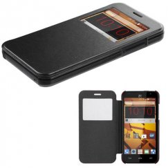 ZTE Speed Black Silk Texture Wallet with Transparent Frosted Tray