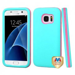 Samsung Galaxy S7 Rubberized Teal Green/Electric Pink Hybrid Case