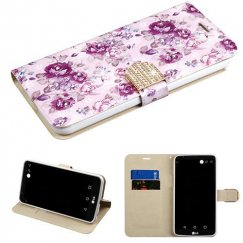 LG G Stylo 3 Fresh Purple Flowers Diamante Wallet with Diamante Belt