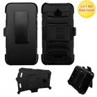 Alcatel Ideal / Streak / Dawn / Acquire Black/Black Advanced Armor Stand Protector Cover (With Black Holster)