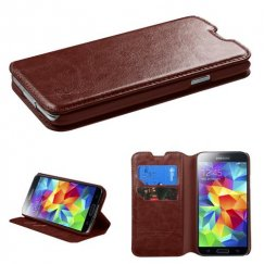 Samsung Galaxy S5 Brown Wallet with Tray