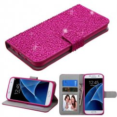 Samsung Galaxy S7 Hot Pink Diamante Wallet