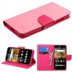 Alcatel One Touch Conquest Pink Pattern/Hot Pink Liner Wallet with Card Slot