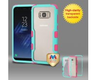 Samsung Galaxy S8 Natural Teal Green Frame????? PC Back/Electric Pink Vivid Hybrid Protector Cover