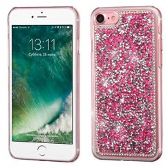 Apple iPhone 7 Hot Pink Mini Crystals Rhinestones Desire Back Case