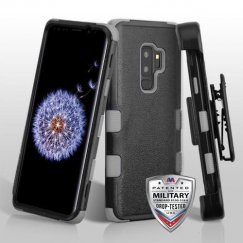 Samsung Galaxy S9 Plus Natural Black/Iron Gray Hybrid Phone Case Military Grade with Black Horizontal Holster