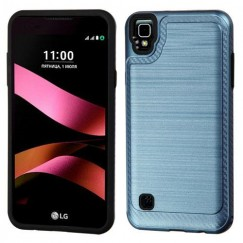 LG X Style / Tribute HD Ink Blue/Black Brushed Hybrid Case with Carbon Fiber Accent