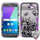 Black Lace Flowers (2D Silver)/Electric Purple Hybrid Phone Protector Cover [Military-Grade Certified]