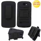 LG K3 Black/Black Advanced Armor Stand Protector Cover (With Black Holster)