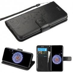 Samsung Galaxy S9 Plus Black 3D Butterfly Flower Wallet(IM021) -NP