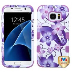 Samsung Galaxy S7 Purple Hibiscus Flower Romance/Electric Purple Hybrid Case
