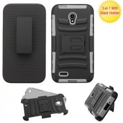 Alcatel One Touch Conquest Black/Gray Advanced Armor Stand Case with Black Holster