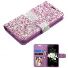 LG K7 Purple Mini Crystals with Silver Belt Wallet