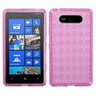 Nokia Lumia 820 Hot Pink Argyle Candy Skin Cover