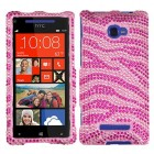 HTC Windows Phone 8x Zebra Skin (Pink/Hot Pink) Diamante Protector Cover