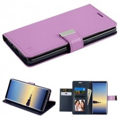 Samsung Galaxy Note 8 Purple/Dark Blue PU Leather Wallet with extra card slots