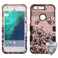 Google Pixel XL Black Lace Flowers (2D Rose Gold)/Black Hybrid Case - Military Grade